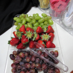 A fruit tray that was on the breakfast spread.
