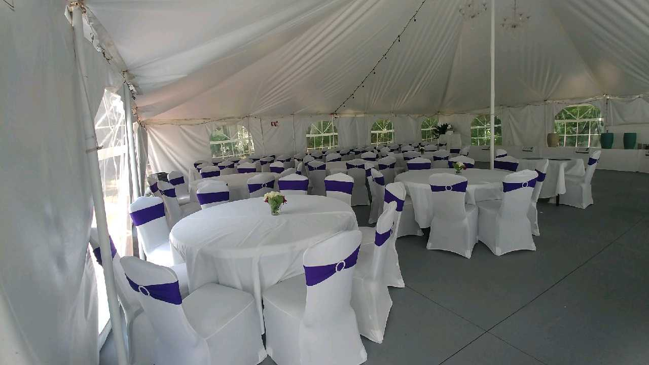 Full wedding reception table and chair setup.