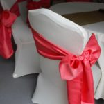 Coral Sash on White Chair